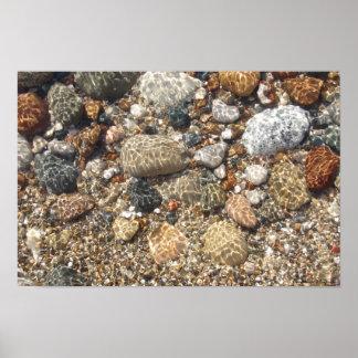 Rocas de la playa del lago Michigan en poster de l
