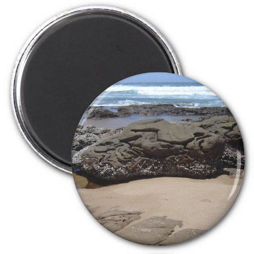 Rocas de la playa imán redondo 5 cm