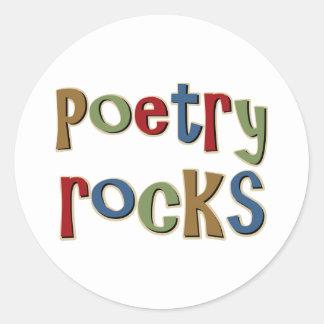 Rocas de la poesía pegatina redonda