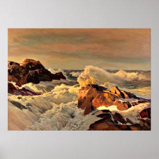 Rocas de la puesta del sol, pintando por Frederick Póster