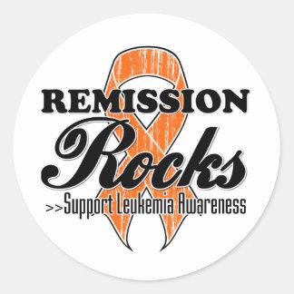 Rocas de la remisión - conciencia de la leucemia etiqueta redonda