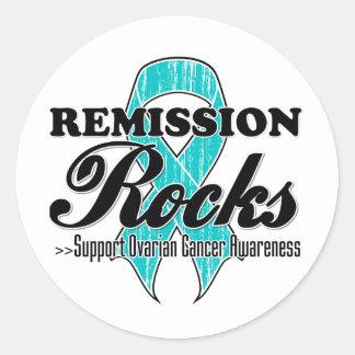 Rocas de la remisión - conciencia del cáncer pegatina redonda