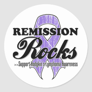 Rocas de la remisión - conciencia del linfoma de etiquetas redondas