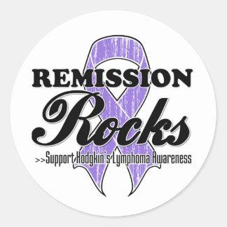 Rocas de la remisión - conciencia del linfoma de pegatina redonda