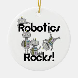 Rocas de la robótica adorno navideño redondo de cerámica