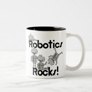 Rocas de la robótica taza de café de dos colores