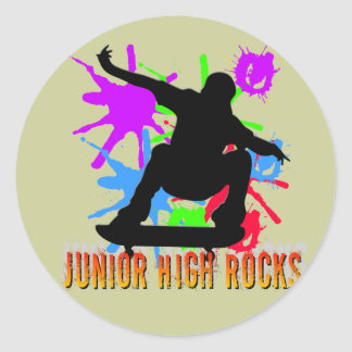 Rocas de la secundaria - skater pegatina redonda