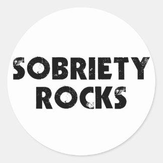 Rocas de la sobriedad etiqueta redonda
