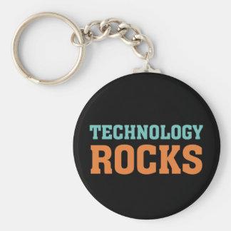 Rocas de la tecnología llavero redondo tipo pin