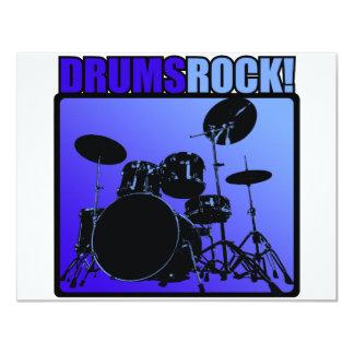 """¡Rocas de los tambores! Invitación 4.25"""" X 5.5"""""""