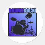 ¡Rocas de los tambores! Pegatina Redonda