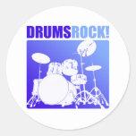 ¡Rocas de los tambores! Pegatinas Redondas