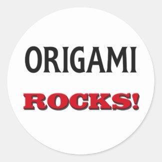 Rocas de Origami Etiquetas Redondas