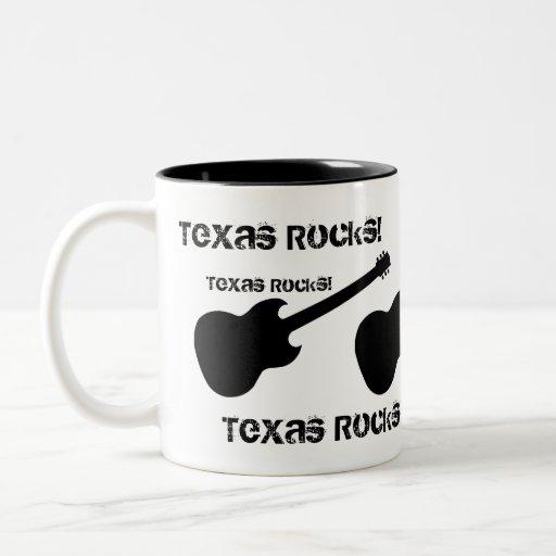 ¡Rocas de Tejas! guitarra negra en blanco Tazas De Café