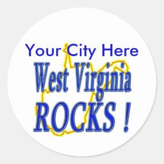 ¡Rocas de Virginia Occidental! Pegatina Redonda