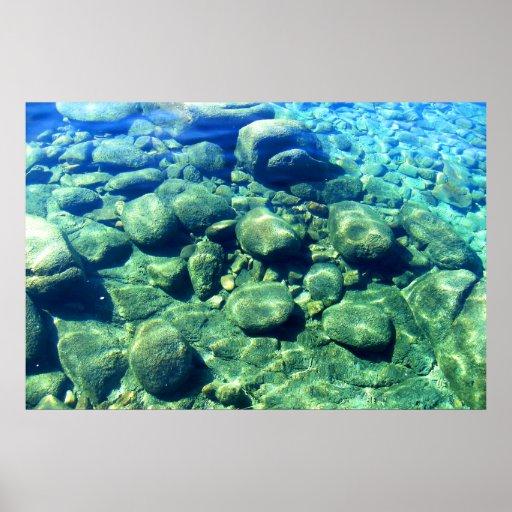 Rocas debajo del agua impresiones