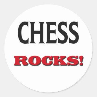 Rocas del ajedrez pegatina redonda