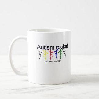 ¡Rocas del autismo! Taza Básica Blanca