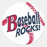 Rocas del béisbol por los estudios de Mudge Pegatina Redonda