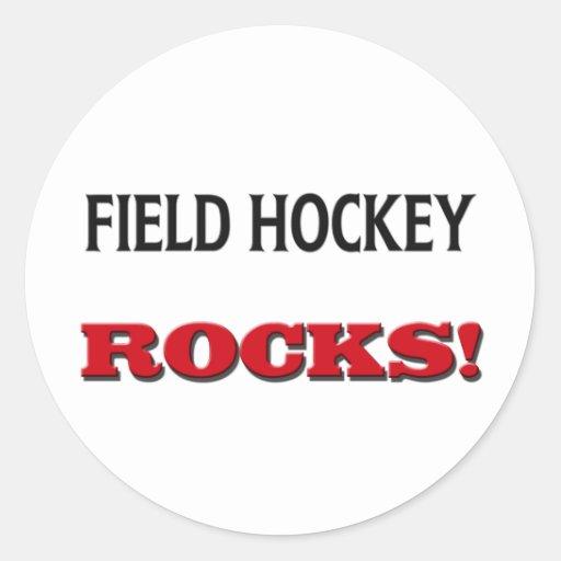 Rocas del hockey hierba pegatina redonda