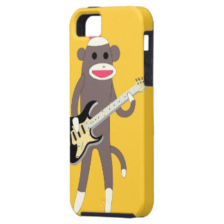 Rocas del mono del calcetín con la guitarra eléctr iPhone 5 Case-Mate funda