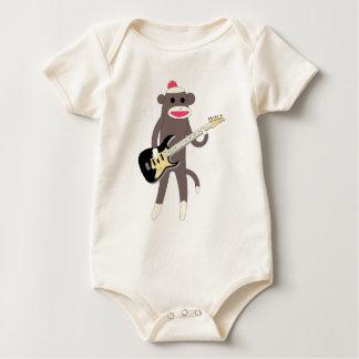 Rocas del mono del calcetín con la guitarra enterito