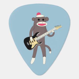 Rocas del mono del calcetín con la guitarra púa de guitarra
