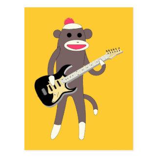 Rocas del mono del calcetín con la guitarra postales