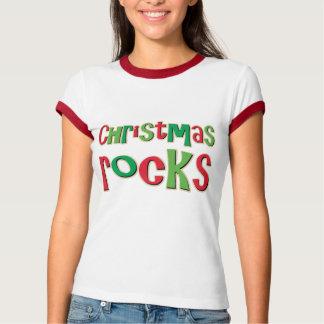 Rocas del navidad en rojo y verde polera