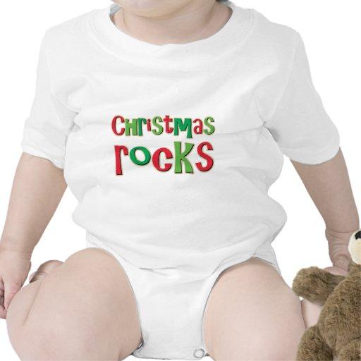 Rocas del navidad en rojo y verde traje de bebé