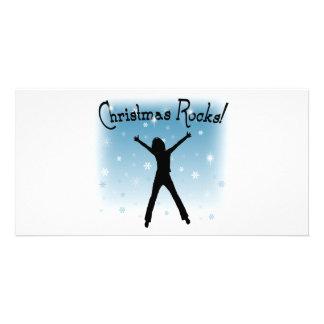 ¡Rocas del navidad! Tarjetas Fotográficas Personalizadas