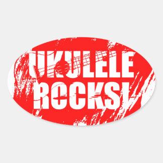 ¡Rocas del Ukulele! Pegatina Ovalada
