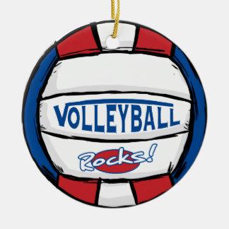 Rocas del voleibol adorno navideño redondo de cerámica