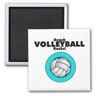 Rocas del voleibol de playa imán cuadrado