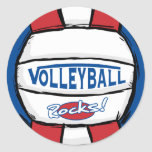 Rocas del voleibol pegatinas redondas