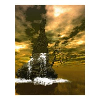 Rocas en el mar con las cascadas plantilla de membrete