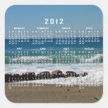 Rocas en la playa; Calendario 2012 Calcomanías Cuadradases