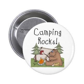 Rocas que acampan pin redondo de 2 pulgadas