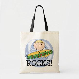 Rocas que practican surf - camisetas y regalos bolsa tela barata