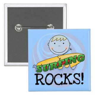 Rocas que practican surf - camisetas y regalos pin