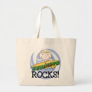 Rocas que practican surf - camisetas y regalos rub bolsa tela grande