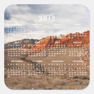 Rocas rojas brillantes; Calendario 2012 Pegatina Cuadrada