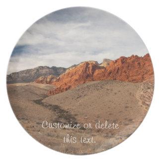 Rocas rojas brillantes; Personalizable Plato De Comida