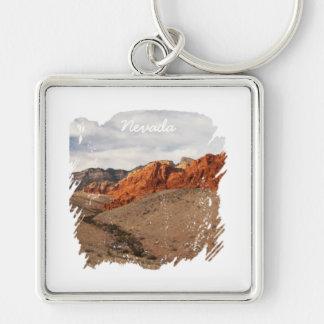 Rocas rojas brillantes; Recuerdo de Nevada Llavero Cuadrado Plateado