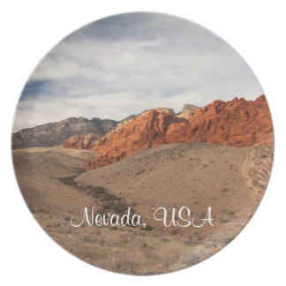 Rocas rojas brillantes; Recuerdo de Nevada Platos Para Fiestas