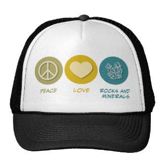 Rocas y minerales del amor de la paz gorros bordados
