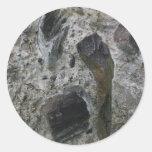 Rocas y mortero etiquetas redondas