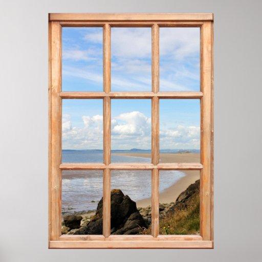 Rocas y opinión del mar de una ventana poster