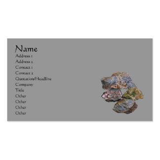 Rocas y tarjeta de visita de los minerales