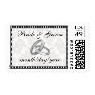 Roccoco Floral with Wedding Bands Postage Stamp